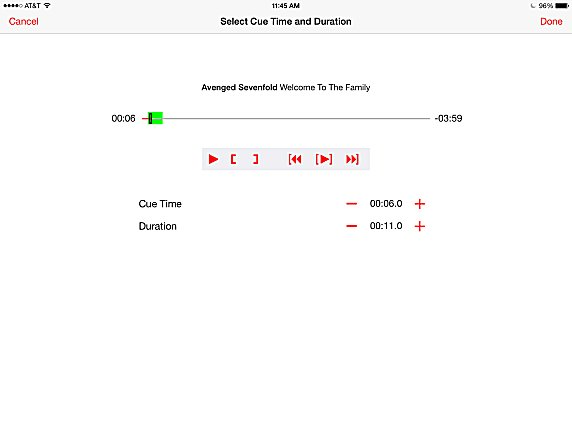 Select the song position and duration with this custom music editor